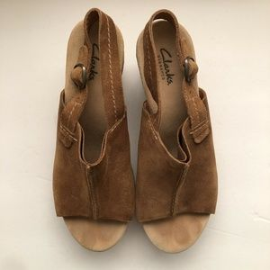 Clarks Shoes - Clarks Size 9.5 Tan Suede Leather Wedges Slingback